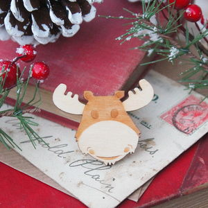 Wooden Reindeer Brooch - pins & brooches