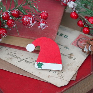Wooden Santa Hat Brooch - christmas jewellery