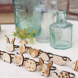 Wooden Animal Rings - children's jewellery