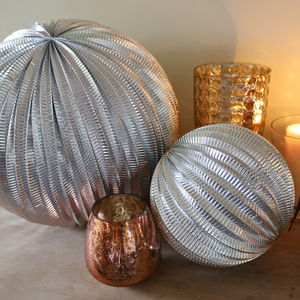 Set Of Two Metallic Silver Pompom Decorations