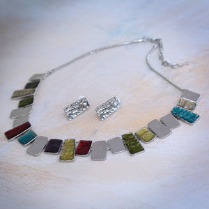 Multicolour Tile Necklace And Earring Set