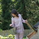 Pyjama Set In Dusky Pink Swallow Print