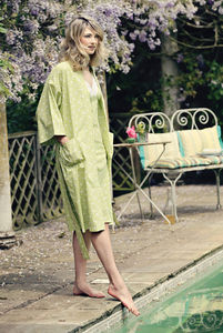Cotton Kimono Dressing Gown In Yellow Swallow Print - lingerie & nightwear