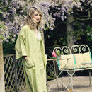 Cotton Kimono Dressing Gown In Yellow Swallow Print