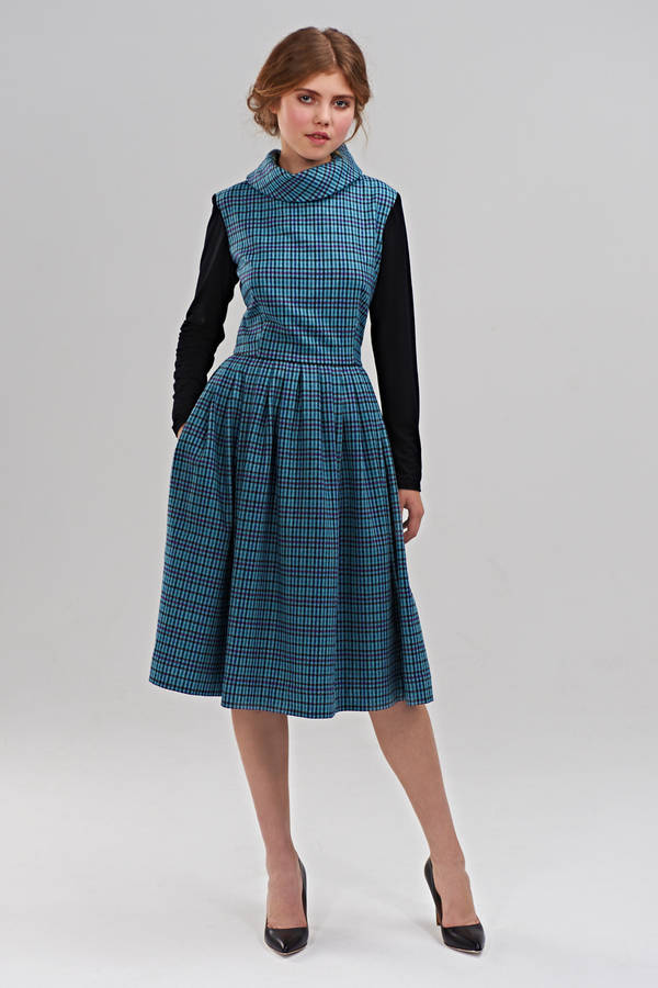 betsy blue checkered dress with jersey sleeves by mrs pomeranz ...