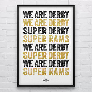Derby County 'Super Derby' Football Song Print