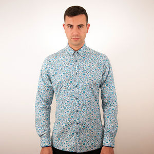 Blue Abstract Floral - shirts