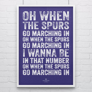 Tottenham 'Marching In' Football Song Print