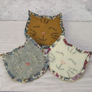 Kitten Handstitched Felt And Liberty Brooch