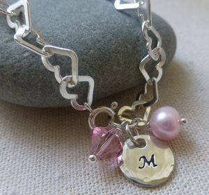 Silver Personalised Heart Links Bracelet