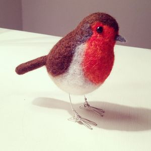 Realistic Robin Felted Bird Ornament - sculptures