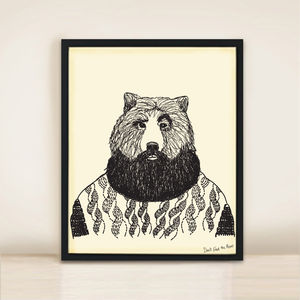 Bearded Bear A3 Print - beard & moustache gifts