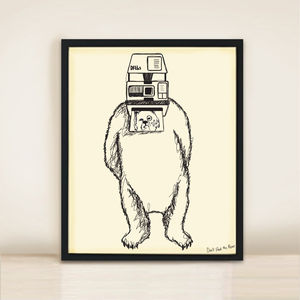 Bear And Camera A3 Print - art & pictures