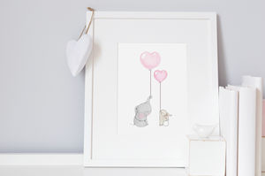 Best Friend Heart Balloons Print