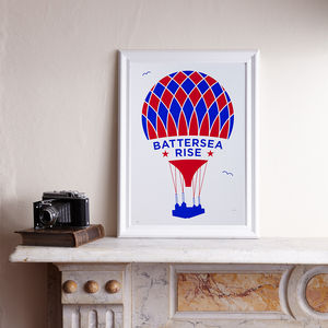 Battersea Rise Red/Blue A3 Screen Print - contemporary art