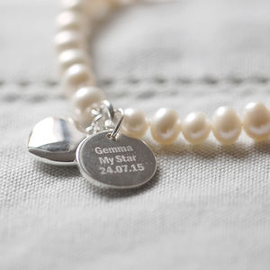 Personalised Pearl Pendant Bracelet - flower girl jewellery