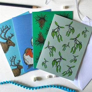 Set Of Four Christmas Cards - christmas cards: packs