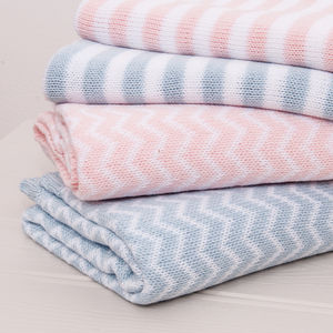 Nevada Cotton Chevron Knitted Pink Baby Shawl - soft furnishings & accessories