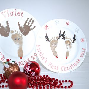 Child's Hand And Feet Print Reindeer Plate