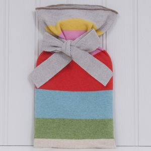 Alba Knitted Lambswool Tie Top Hot Water Bottle - hot water bottles & covers