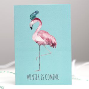 Winter Is Coming! Flamingo Christmas Card - cards & wrap