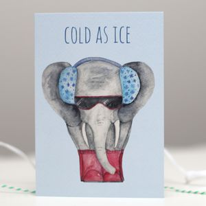 Cold As Ice! Elephant Christmas Card - cards & wrap