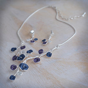 Blue Envy Crystal Petal Jewellery Set - women's jewellery