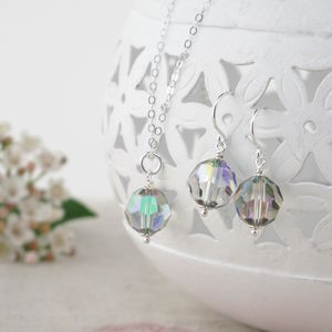 Alice Multicolour Crystal Pendant And Earrings Set - necklaces & pendants