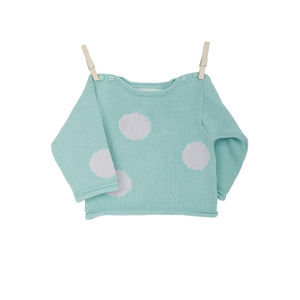 Baby's Organic Snow Ball Knitted Jumper - clothing