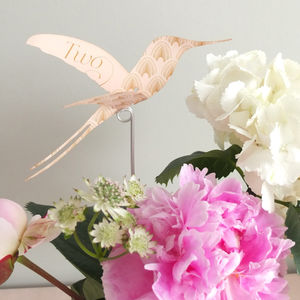 Decodence Hummingbird Table Numbers In Ivory - table numbers