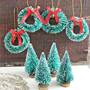 Set Of Mini Trees And Wreaths - room decorations