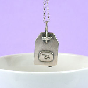 'Ginger Tea' Personalised Silver Tea Bag Necklace