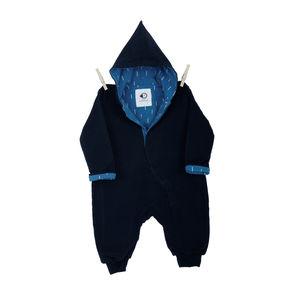 Baby's Organic Furry Blue Lining Onesie