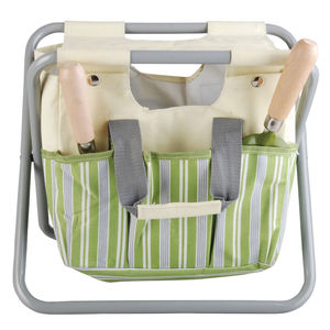 Garden Tool Storage Stool / Canvas Green Stripe