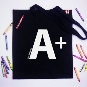 Personalised 'A Plus' Teachers Tote Bag - shoulder bags