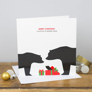 Merry Christmas Mummy And Daddy Bear Card - cards & wrap