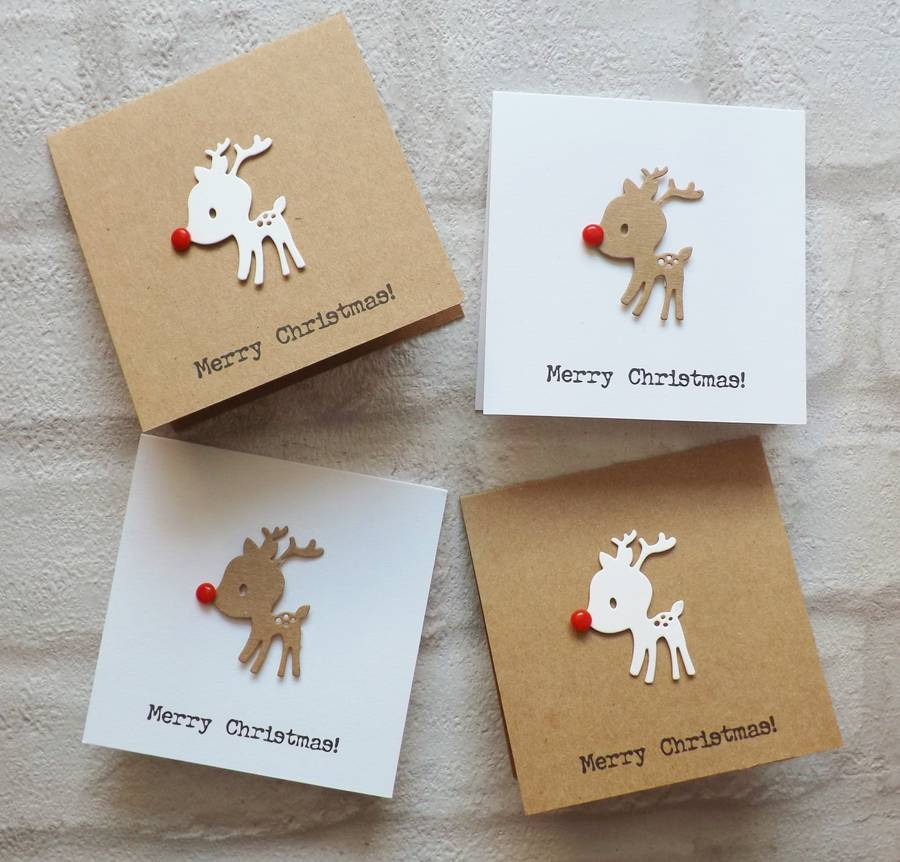Baby reindeer christmas cards pack of 10 by lisa walker for How to make handmade christmas cards