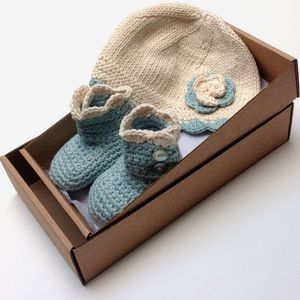 Organic Cotton Baby Hat And Booties Gift Set - outfits & sets