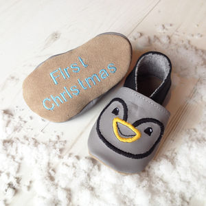 Personalised Penguin Baby Shoes - baby's first christmas