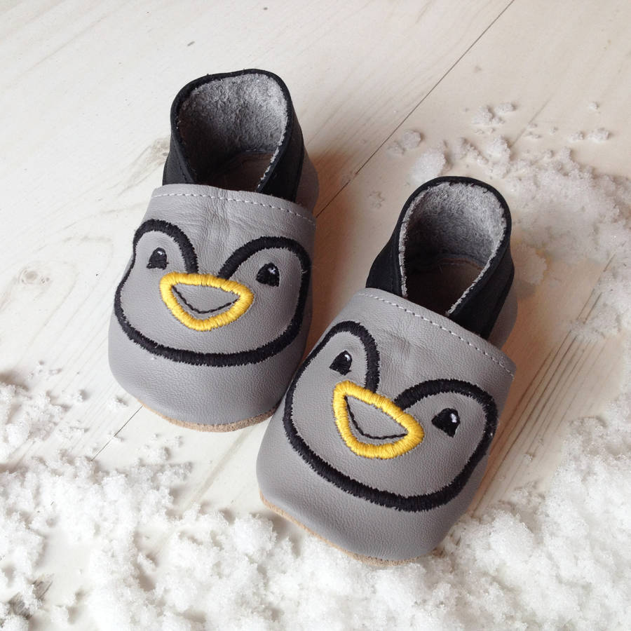 37e420bdda37 personalised penguin baby shoes by born bespoke