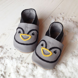 Personalised Penguin Baby Shoes - children's festive partywear