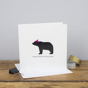 Happy Birthday Mummy Bear Card - mother's day cards