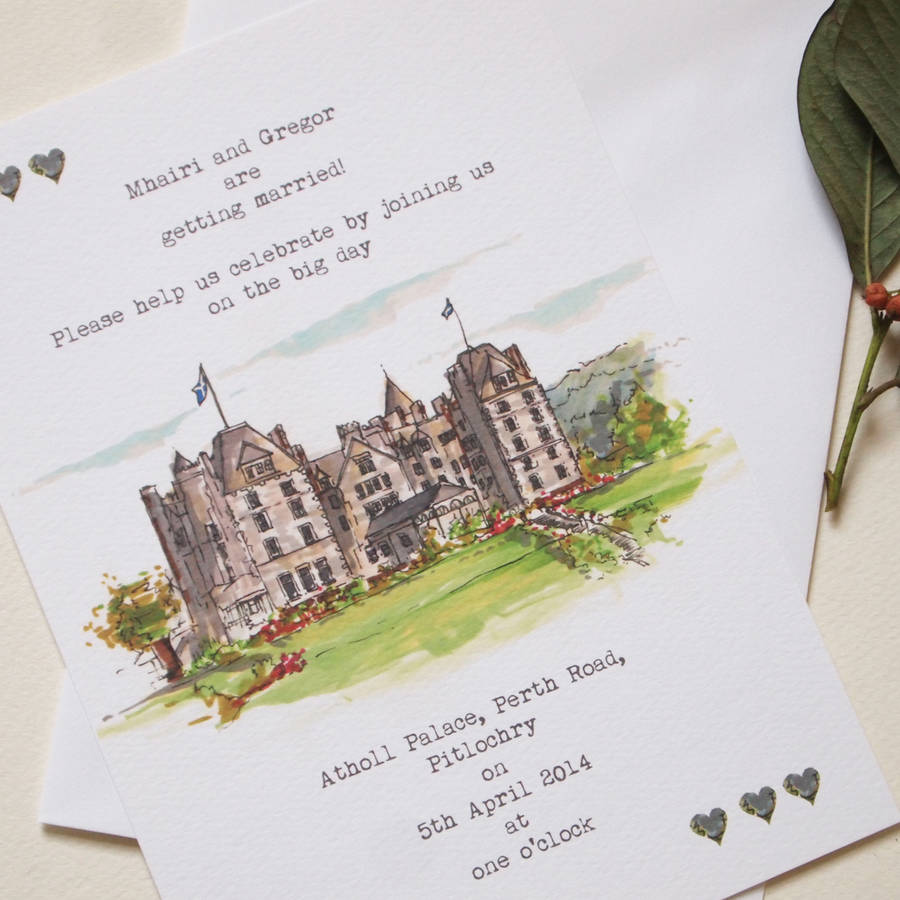 personalised wedding venue invitations greeting card by