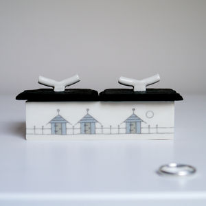 Beach Huts Ceramic Jewellery Box