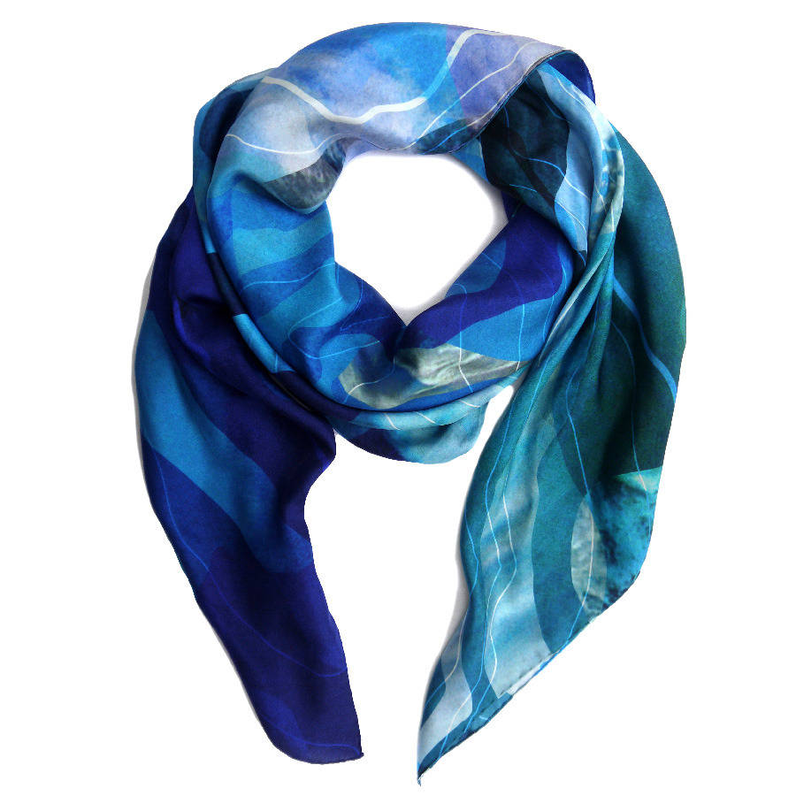 topographic silk classic habotai scarf by kathkath