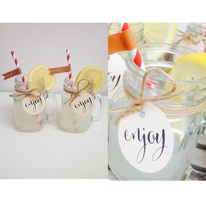Set Of Two Mason Jars With Lids And Straw