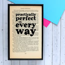 'Practically Perfect' Mary Poppins Quote Art