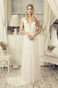 A Line Ivory Bridal Dress With Train - wedding fashion