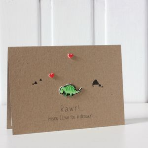'Rawr Means I Love You' Dinosaur Card - engagement cards