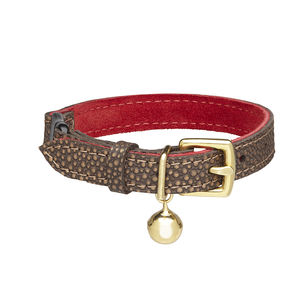Red And Bronze Leather Cat Collar With Safety Catch